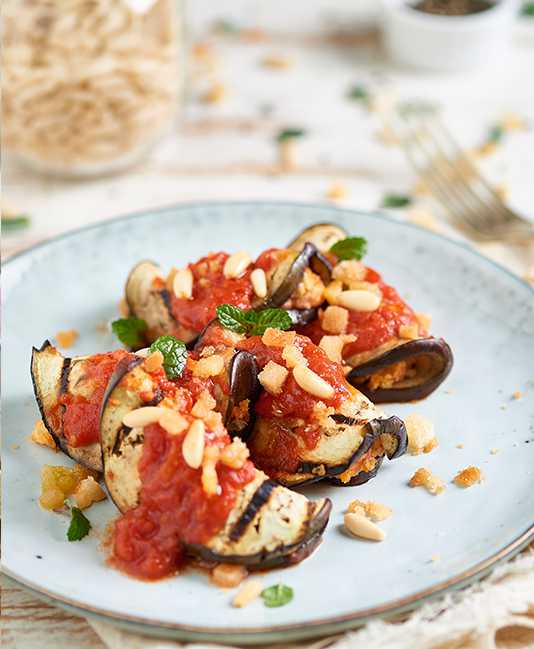 Eggplant stuffed with herbs and tomatoes