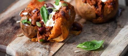 Sweet Potato Jackets with Chilli Beans