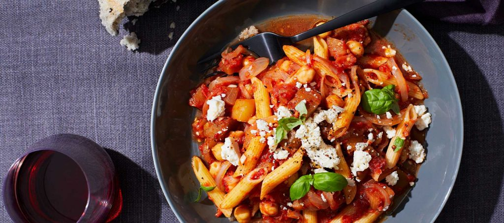 Penne with Eggplant, Tomatoes & Chick Peas