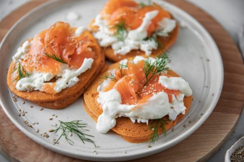 Savoury Tomato Pancakes with salmon and goats cheese fondue