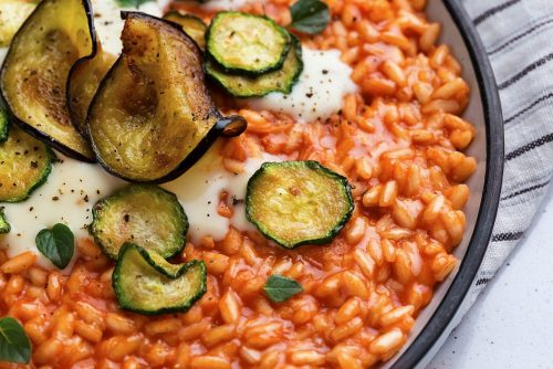 Tomato Risotto with Parmesan Fondue and Fried Veggies