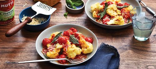 Crispy Cauliflower with Cherry Tomatoes and Parmigiano Reggiano