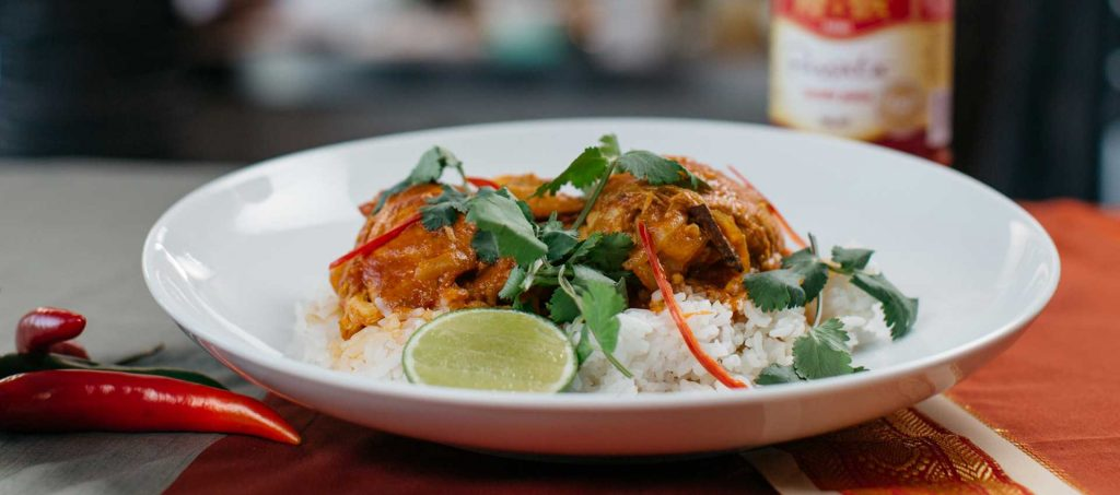 Chicken and Coconut Curry with Steamed Rice