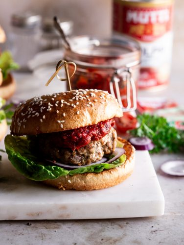 Tangy tomato jam served with homemade Sage Turkey burgers