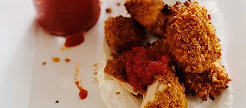 Honey Chicken Nuggets with Tomato Relish