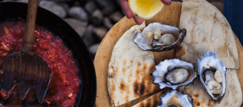 Oysters and Mutti Polpa on Chapa Bread
