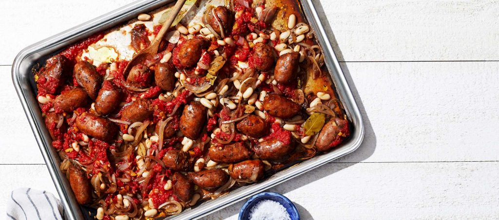 Sausage with White Beans, Tomatoes & Onions